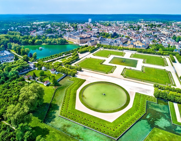 Aerial view of chateau de fontainebleau, a residence for the french monarchs. now a site in france