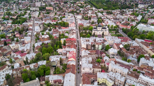 Aerial view of chernivtsi city historical center from above western ukraine.