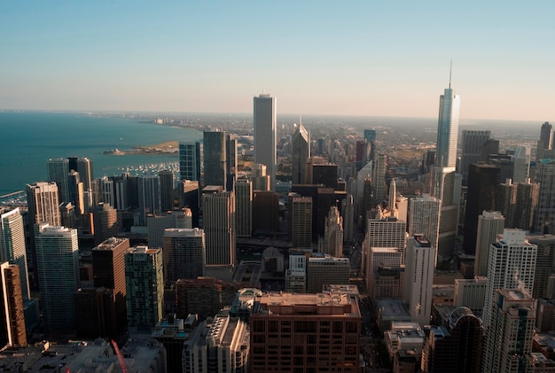 Aerial view of chicago cityscape