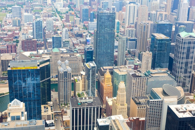 Aerial view of chicago downtown at foggy day from high above, illinois usa.