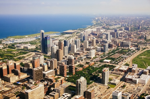 Aerial view of chicago, illinois.