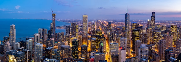 Aerial view of chicago skylines south panorama