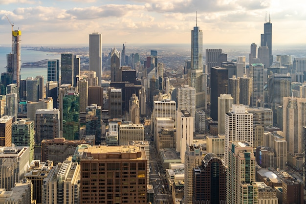 Aerial view of chicago skylines south sunset