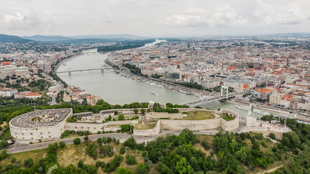Aerial view of citadella and liberty statue in budapest