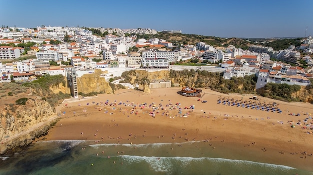 Aerial view of city of albufeira, beach pescadores, in the south of portugal, algarve