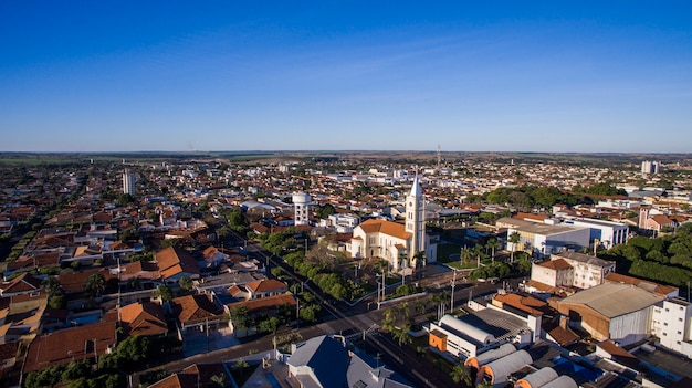 Aerial view of the city of andradina in sao paulo state in brazil. july, 2016.