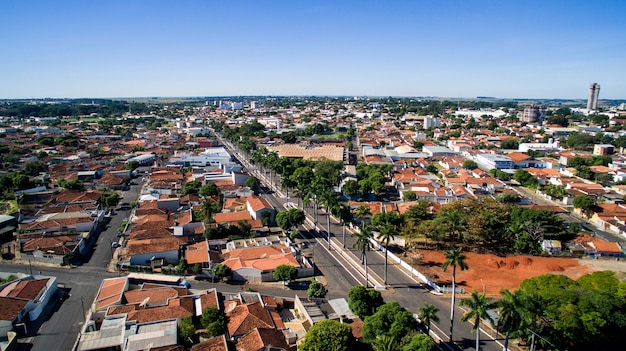 Aerial view of the city of aracatuba in sao paulo state in brazil. july, 2016.
