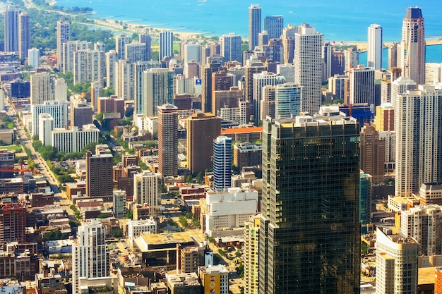 Aerial view of city of chicago