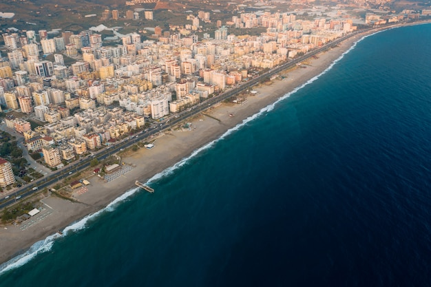 Aerial view of city on the coastline in turkey