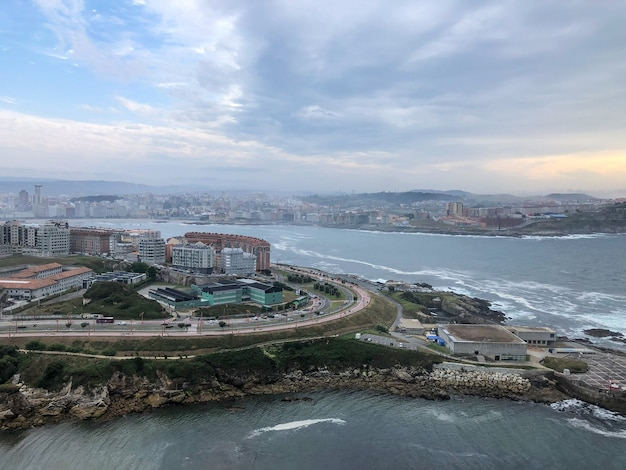 Aerial view of the city of la coruña
