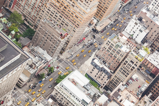 Aerial view of city street in new york