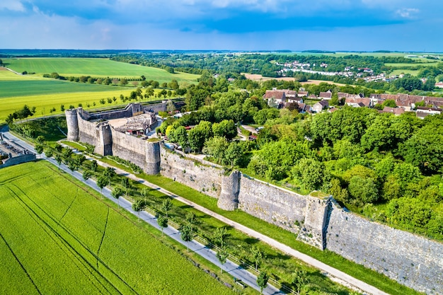 Aerial view of the city walls of provins, a town of medieval fairs and a site. the seine-et-marne department of france