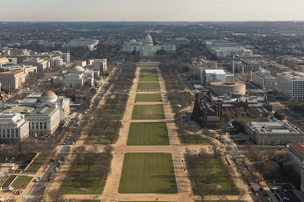 Aerial view of the city of washington dc, usa.
