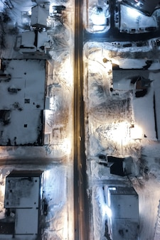 Aerial view of city in winter