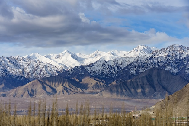 Aerial view of cityscape leh city or downtown with mountain background from the window of leh palace at leh ladakh, jammu and kashmir, india