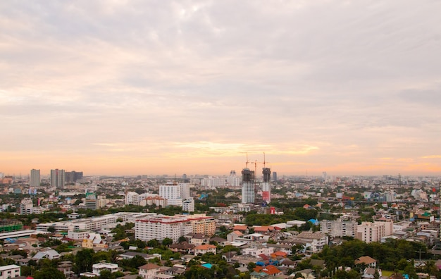 Aerial view cityscape of modern city in bangkok.