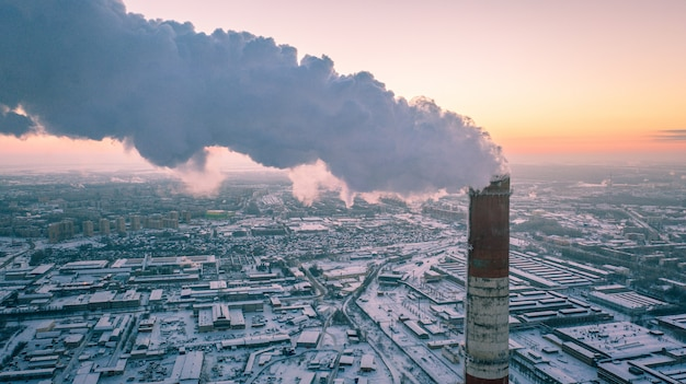 Aerial view of combined heat and power plant in industrial zone.