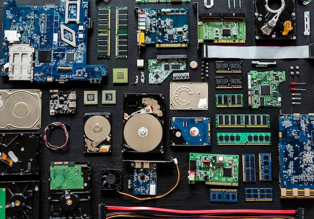 Aerial view of computer electronics componets parts flatlay