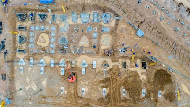 Aerial view construction site