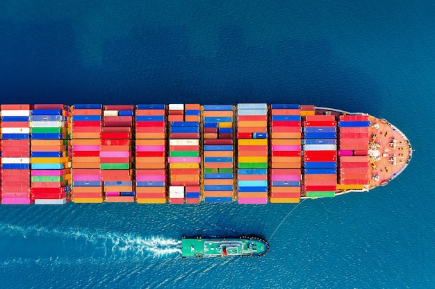 Aerial view of container cargo ship in sea.