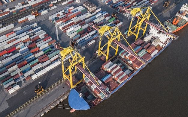 Aerial view of container ship unloading in sea port