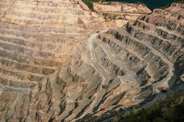 Aerial view of copper mining pit in rosia poieni in romania