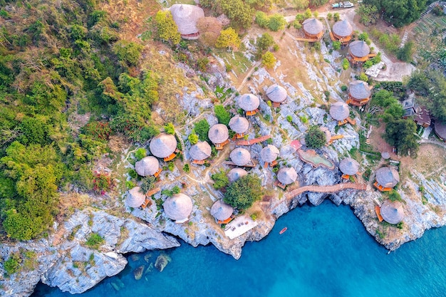 Aerial view of cottage on the si chang island, thailand.