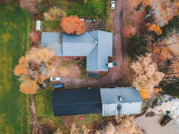 Aerial view of a country house in the woods. photo taken from a drone.