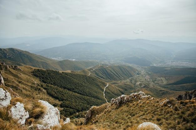 Vista aerea di una strada di campagna che passa attraverso gli alberi e le montagne