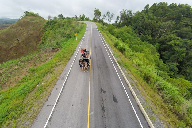 Aerial view of crooked path of road on the mountain, shot from drone.