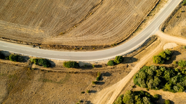 Aerial view of crooked path of road