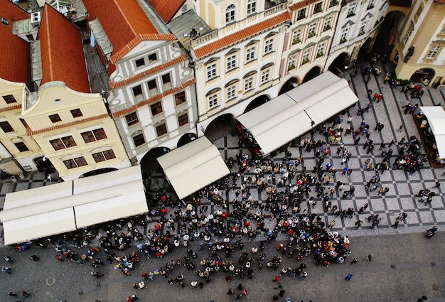 Aerial view of crowd of people in prague