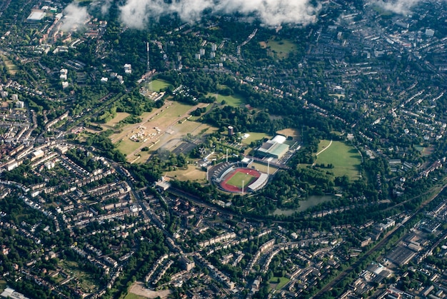 Aerial view of crystal palace, london july 2008