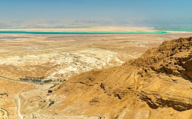 Aerial view of the dead sea in the judaean desert - israel