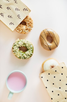 Aerial view of diverse donut