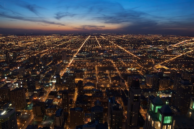 Aerial view of downtown chicago at dusk, looking west.