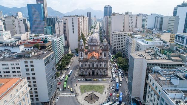 Aerial view downtown rio de janeiro of candelaria church.