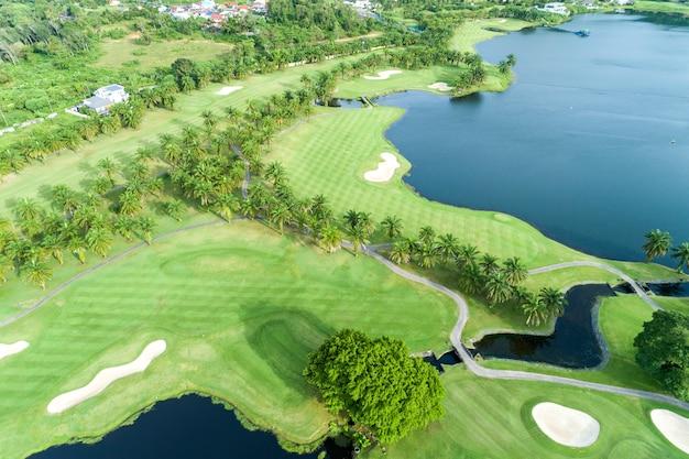 Aerial view drone shot of beautiful golf field Premium Photo