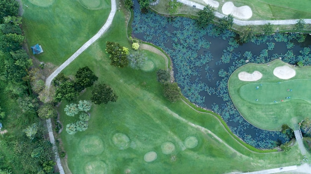 Aerial view drone shot of golf course Premium Photo