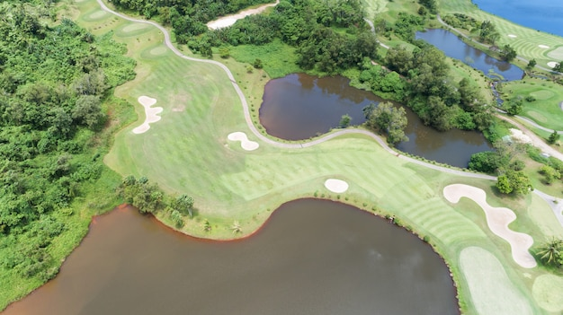 Aerial view drone shot of golf course