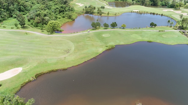 Aerial view drone shot of golf course.