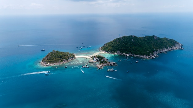 Aerial view drone shot of koh nang yuan beautiful small island in surat thani thailand