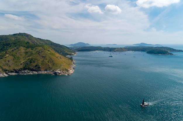 Aerial view drone shot of laem krating viewpoint new landmark in phuket thailand