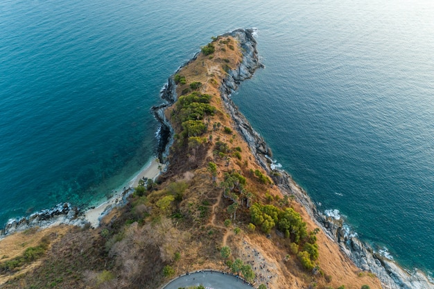 Aerial view drone shot of laem promthep cape beautiful scenery andaman sea in phuket thailand.