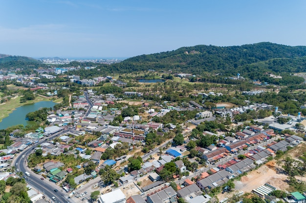 Aerial view drone shot of modern houses village in thailand.