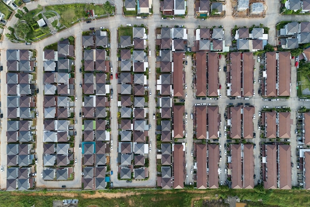 Aerial view drone shot of modern houses village in thailand