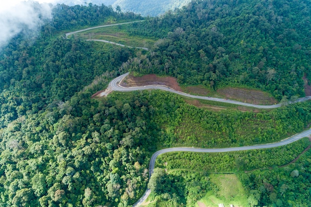 Аэрофотоснимок беспилотный выстрел из кривой асфальтированной дороги на горных тропических лесов