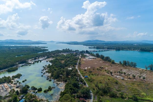 Aerial view drone shot of sarasin bridge phuket thailand image transportation
