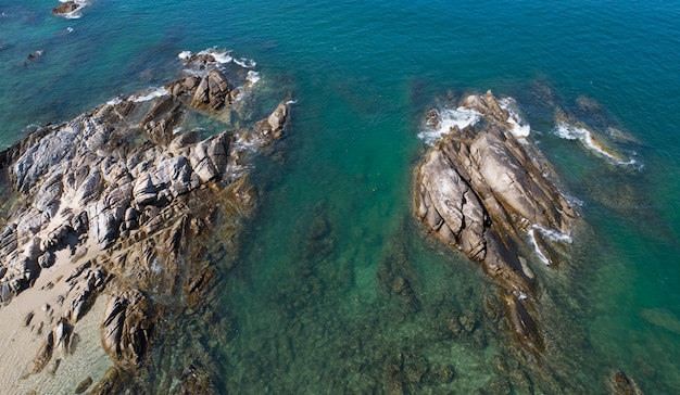 Aerial view drone shot of seascape scenic off beach