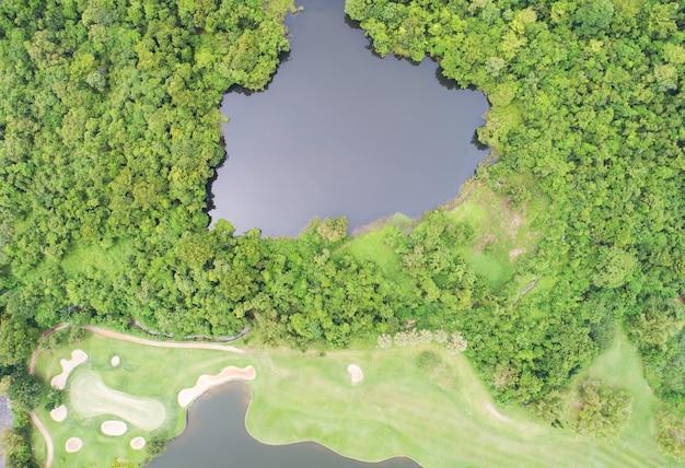 공중 보기 무인 항공기 여름 시간에 아름 다운 녹색 골프 필드와 야자수와 풍부한 숲의 하향 샷 골프 코스에 푸른 잔디와 나무의 높은 각도 보기.